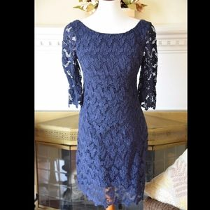 Lilly Pulitzer Blue Shayna Butterfly Lace Dress